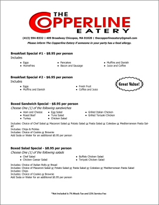 Click to view our full catering menu.